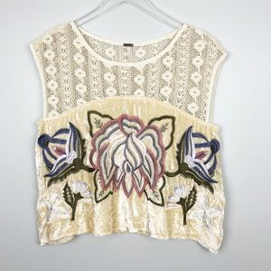 Free People | Embroidered Native Rose Top Ivory S